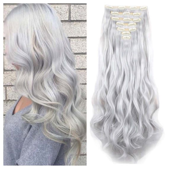 Silver Clip In Hair Extensions Silver Hair Extensions 24 Hair