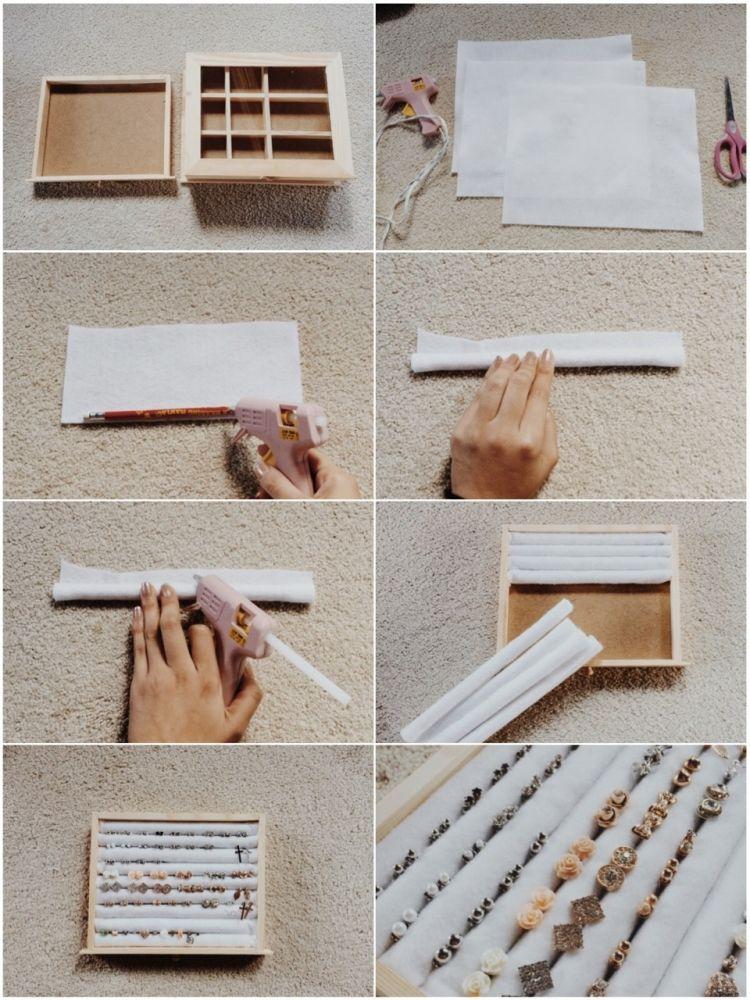 Schmuckaufbewahrung selber machen - Holzkiste, Filz, Bleistifte - schminktisch ideen aufbewahrung