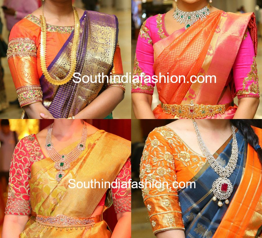 00767094d9693 Maggam embroidered blouse designs for pattu sarees. Latest blouse designs  for silk saree  kanjeevaram saree blouse patterns