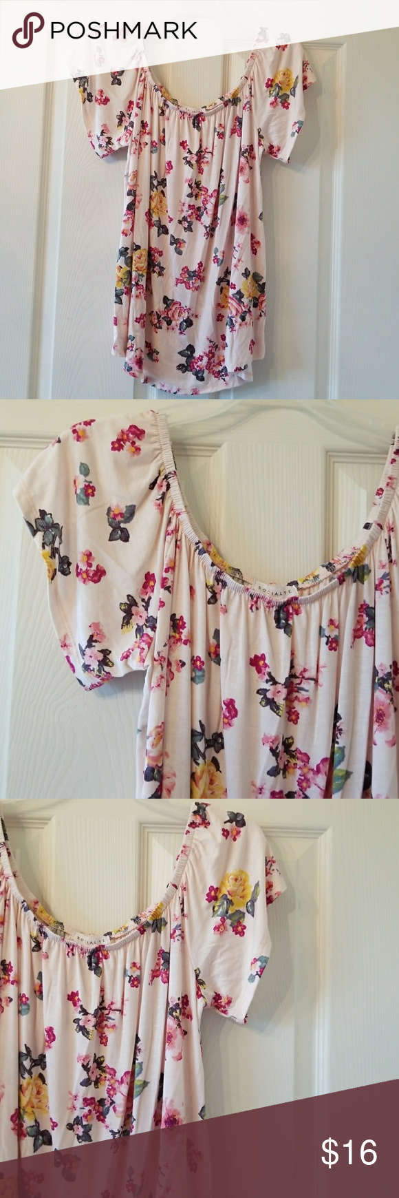 Pink Floral Tee Brand new, never worn.  Soft and comfortable and super cute Socialite Tops