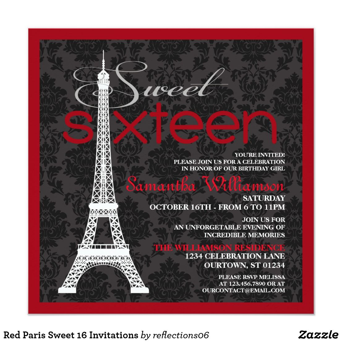Red Paris Sweet 16 Invitations | { Happy Birthday - Invitations and ...