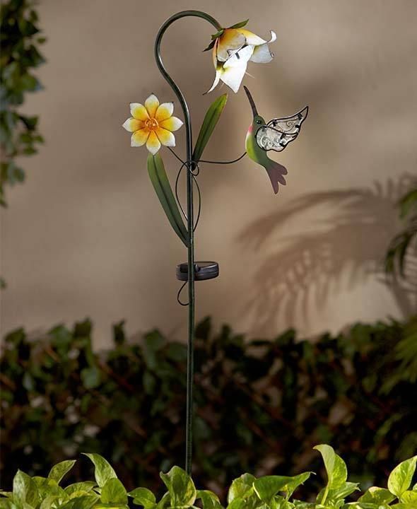 Solar Flower Hummingbird Garden Stake Light Garden Yard Patio Outdoor Home  Decor