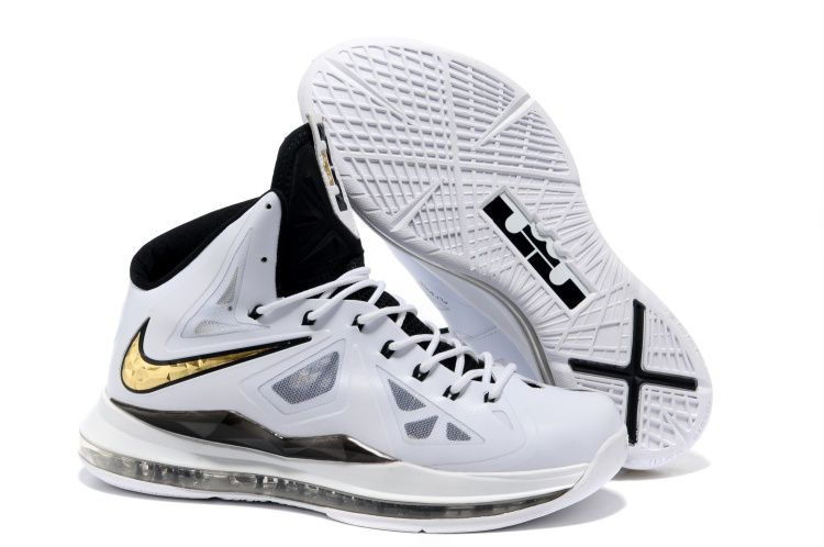 6f96e5e0662 ... nike foamposites basketball lebron james shoes. Lebron X White Black  Gold Medal Cheap Lebron 10 Shoes