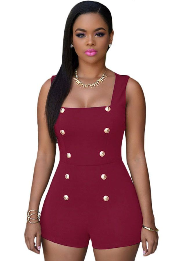 Date Red Gold Buttons Romper