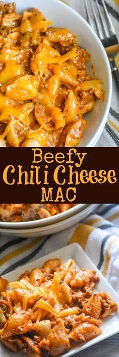 Beefy Chili Cheese Mac - #Beefy #cheese #Chili #Mac