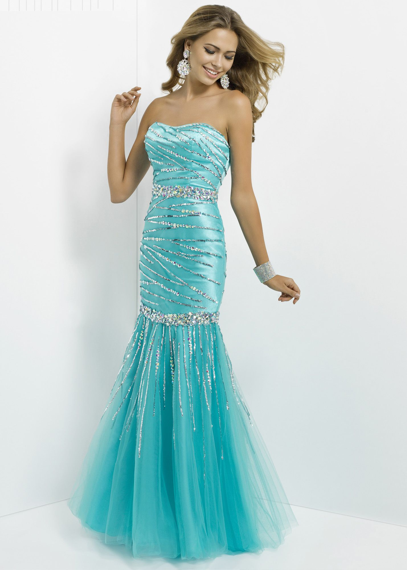 Very pretty! #thepromdresses Blush Prom 9778 - Turquoise Strapless ...