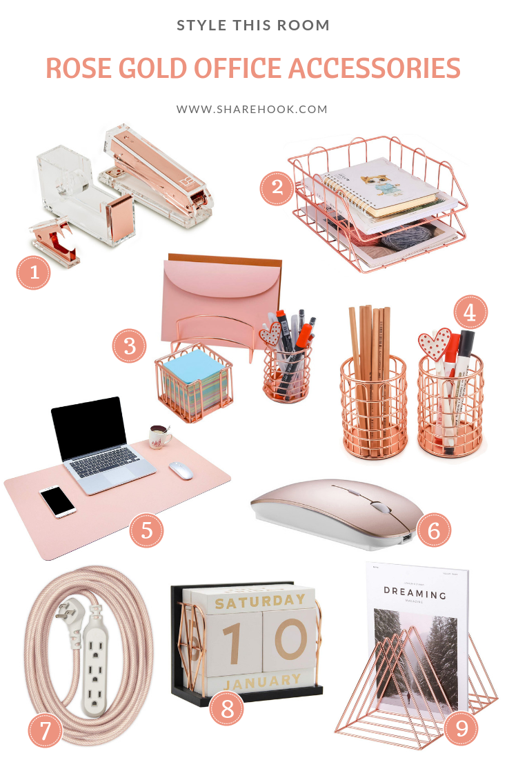 Rose Gold Office Accessories Rose Gold Room Decor Gold Room Decor Rose Gold Bedroom