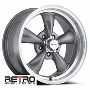 17x8 930 G Retro Wheel Designs Charcoal Gray Wheels Rims 5x4 75 Chevy Lug Pattern 4 50 Backspace Wheel Rims Ford Galaxie Chevy Chevelle