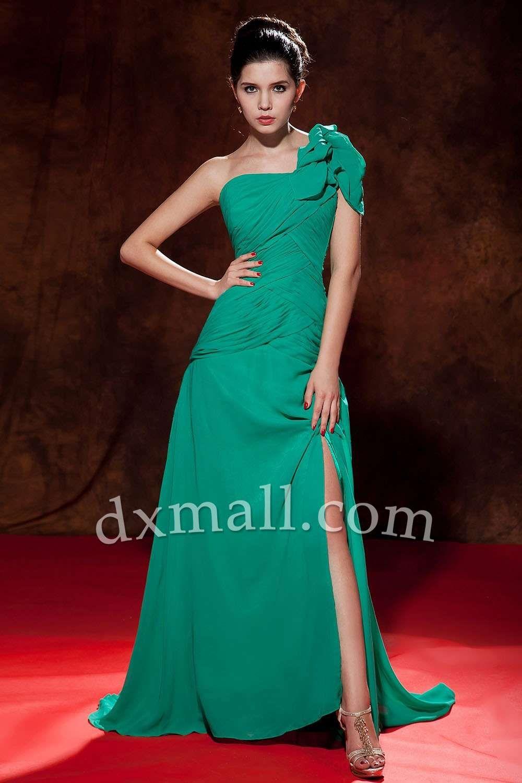 Asymmetrical Prom dresses One Shoulder Sweep/Brush Train Chiffon ...