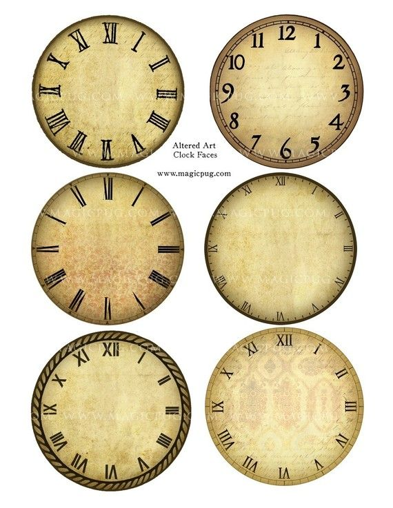 Altered Art Clock Face Digital Collage Sheet for mixed media crafts
