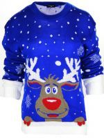 NEW WOMENS LADIES NOVELTY CHRISTMAS JUMPER REINDEER XMAS RUDOLPH PLUS SIZE. (1)