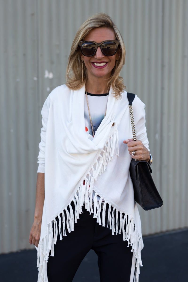 Check out our Ivory Asymmetrical Cardigan with fringe perfect for spring and available in our shop www.jacketsociety.com