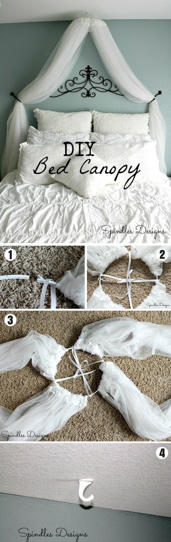 Inexpensive and Dreamy DIY Bed Canopy Ev Aksesuarları