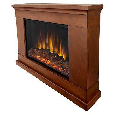 Real Flame Jackson Slim Electric Wall Mount Fireplace Pecan