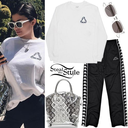 71d29fbe39cd Kylie Jenner posted a picture on instagram yesterday wearing a Palace P3  Long-Sleeve T-Shirt (Sold Out), Kappa Authentic Popped Pants (Sold Out), ...