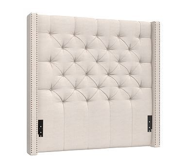 Harper Upholstered Tufted Tall Headboard with Bronze Nailheads ...