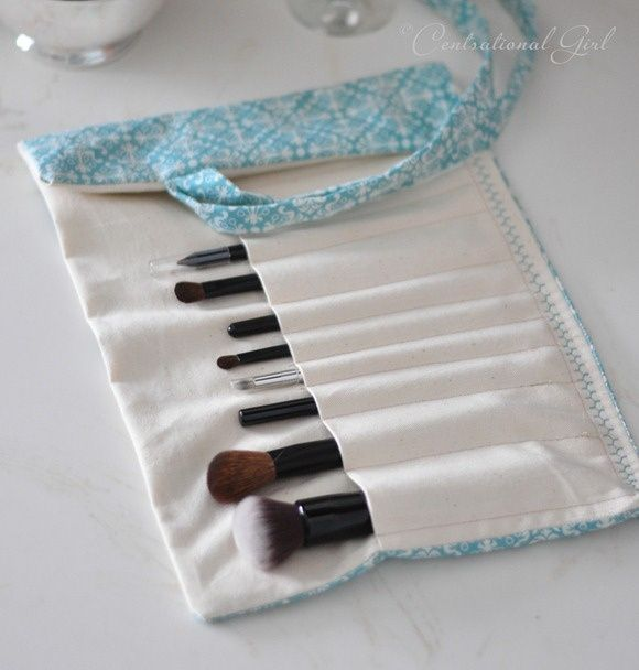 DIY makeup brush holder...so much prettier than what you can buy. sewing
