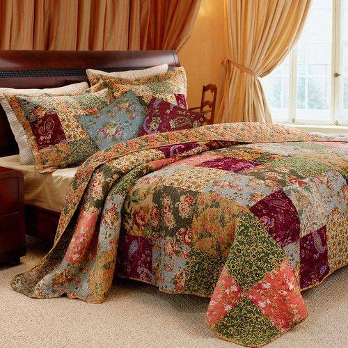 Colcha Patchwork jogar Jade Paisley Floral Listra Lap Cobertor Bedding