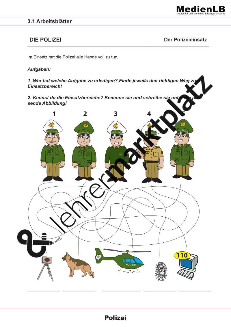 polizei kindergarten arbeitsblätter  worksheets