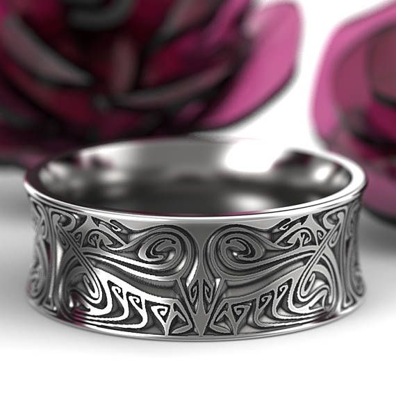 Engraved Norse Wedding Ring With Dramatic Design In Sterling Etsy In 2020 Celtic Wedding Rings Rings For Men Wedding Rings
