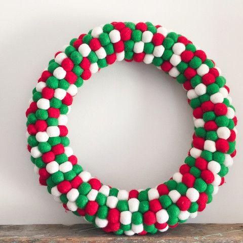 Felt Ball Wreath - Blended Family | Felt ball wreath, Felt ball, Christmas wreaths