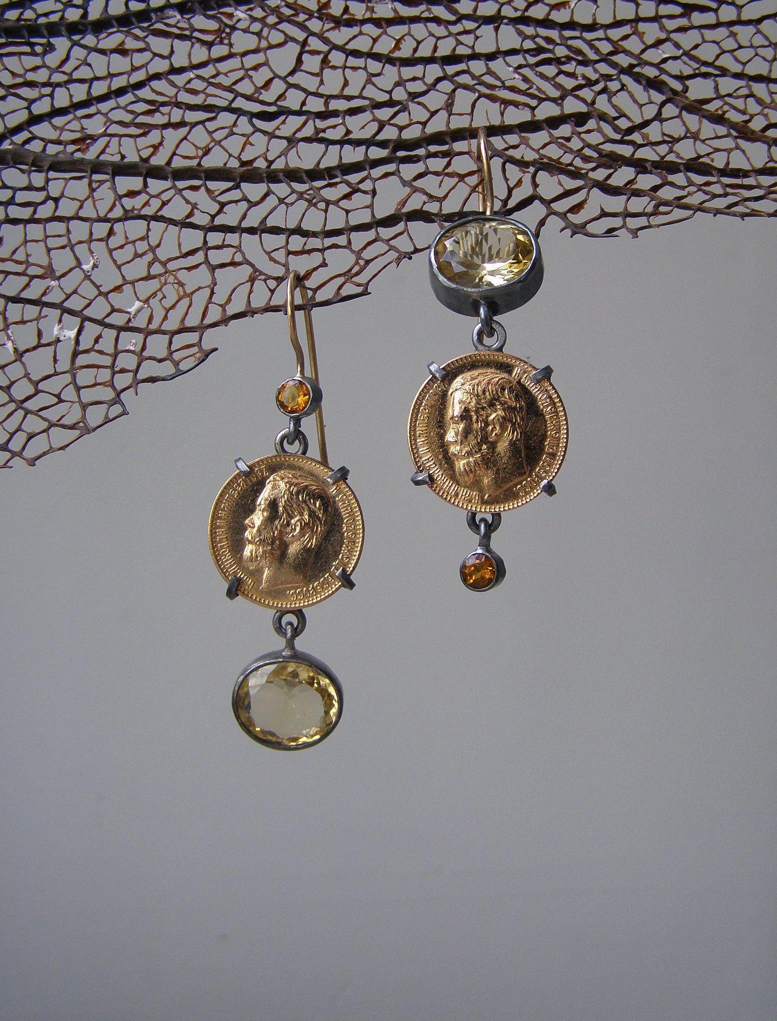 https://flic.kr/p/wD9U3q | earrins for ilze |    silver, 18K gold, golden coins 1898, citrine