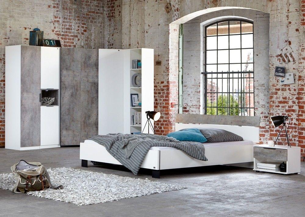 Schlafzimmer komplett Cargo Weiß Betonoptik 10334 Buy now at - schlafzimmer komplett weiß