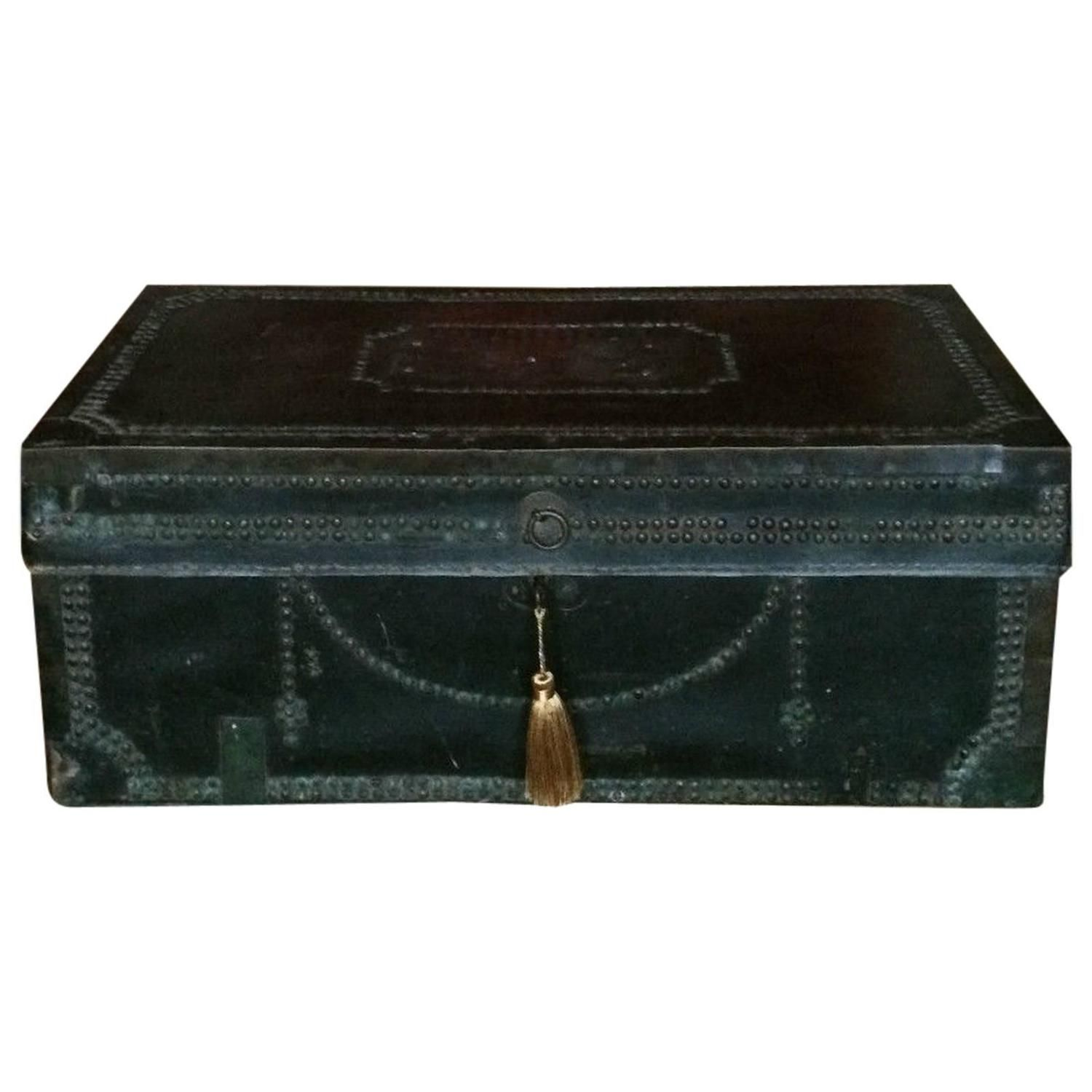 Antique Travel Trunk Chest Victorian Leather Brass Studded, 19th ...