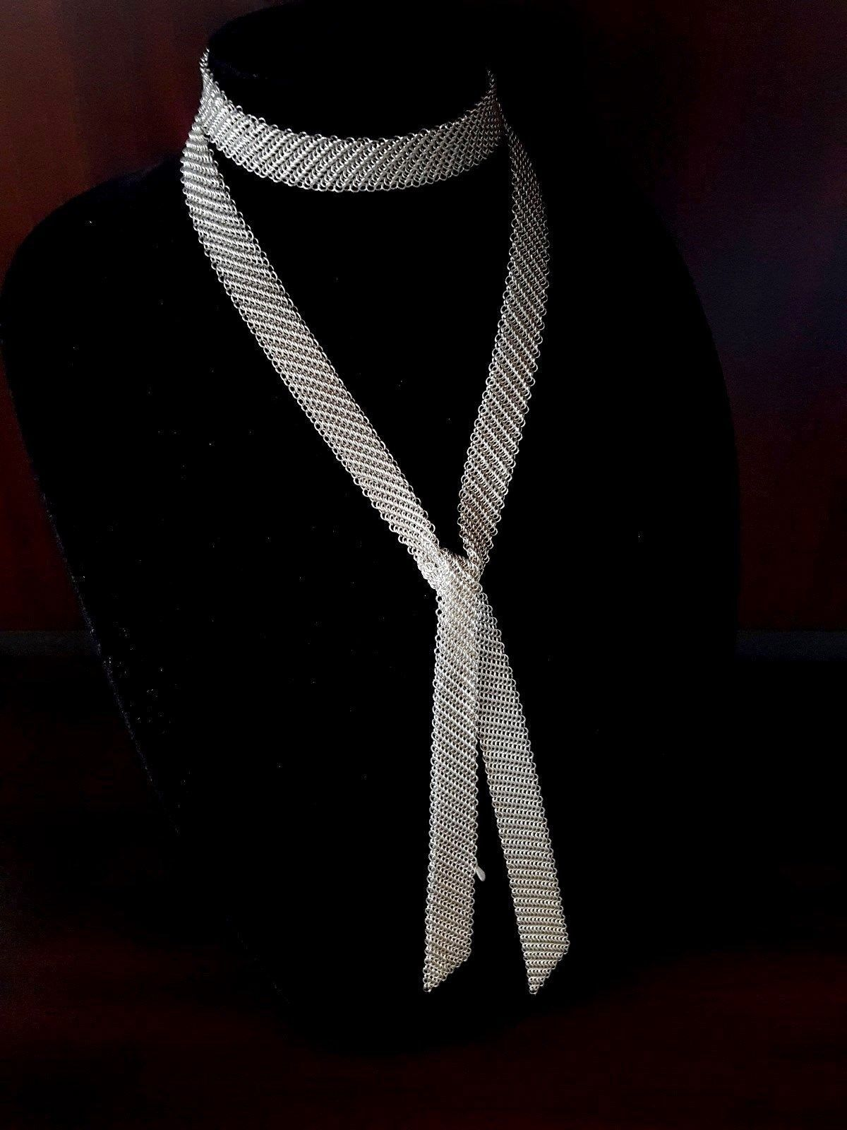 a13592c4d Vintage Tiffany & Co. Sterling Silver Elsa Peretti Mesh Scarf Necklace 49''