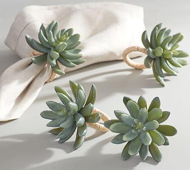 Succulent Napkin Rings Set Of 4 Porta Guardanapo De