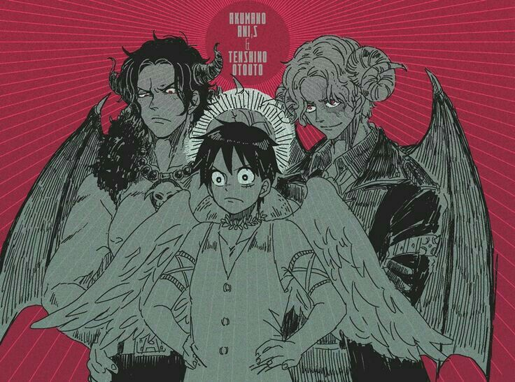 Ace, Sabo, Luffy, brothers, demons, angel, wings, cool, text