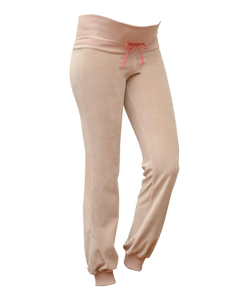 Beige Velvet Maternity Lounge Pants