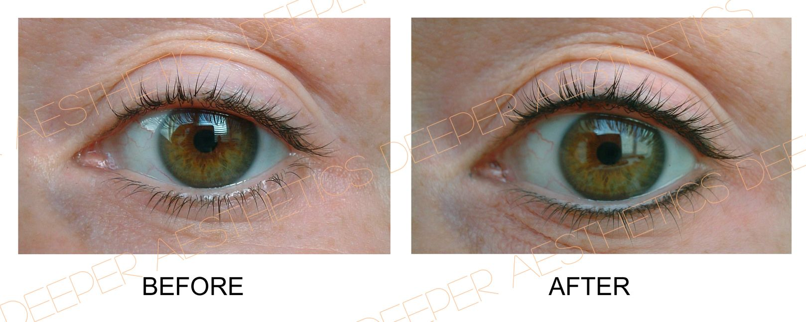 Lash enhancement with with semipermanent make up by