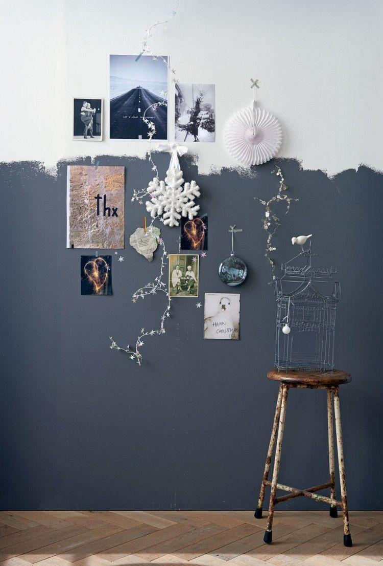 Zweifarbige Wandgestaltung In Dunkelgrau Und Weiß Wandgestaltung Ideen Wandgestaltung Wandmalerei Ideen