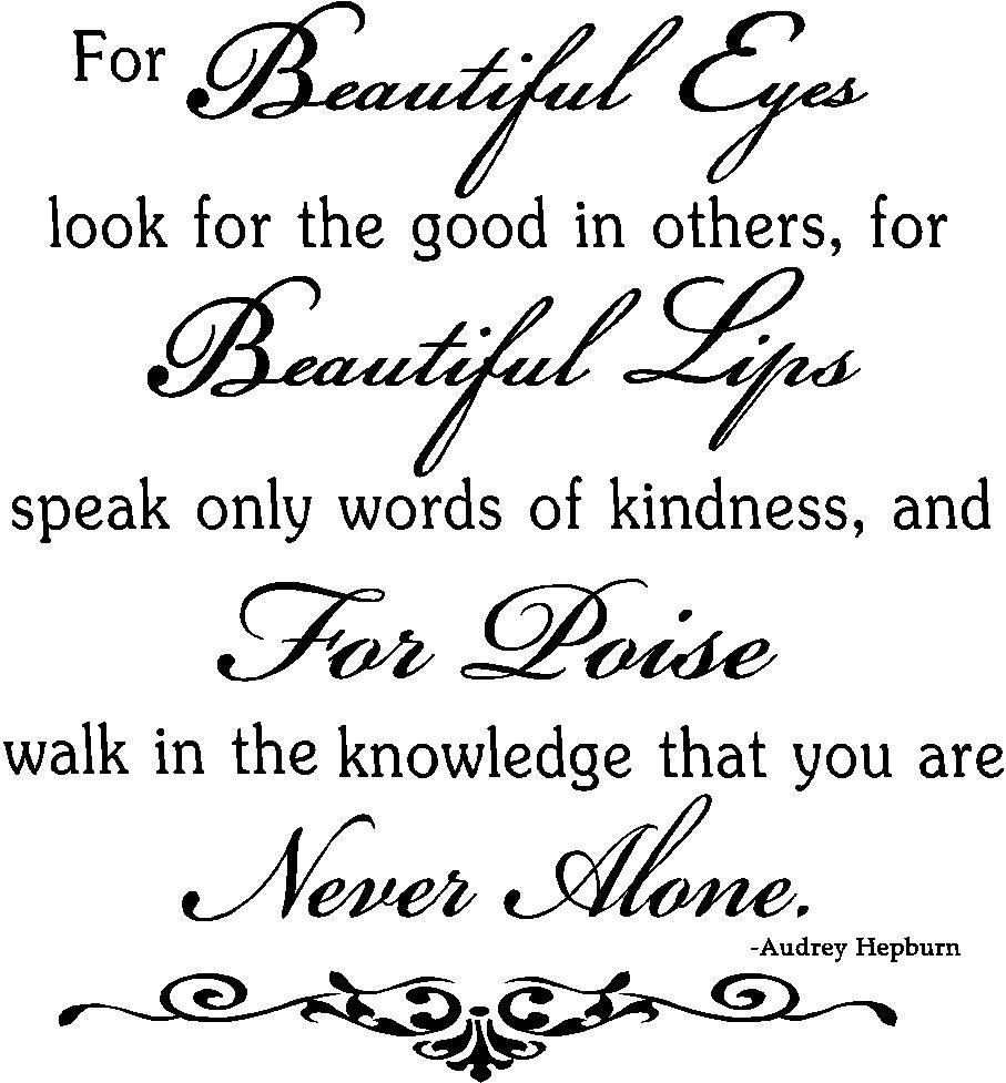 Wall Quotes Beautiful Eyes Hepburn Wall Quote Quotes Pinterest