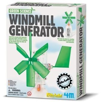 Utnytt vinden og lys natten opp med en hjemmelaget vindmølle. Ta en tom plastikkflaske og tryll den om til noe morsomt og funksjonelt, en vindmølle generator.  En alle tiders måte å lære hvordan man høster vindenergi. Ingen batterier, ingen forurensning, bare morro.  Settet inneholder rotor, hus med drev og rotoraksel, leketøysmotor med generator, motorchassis, 8 små skruer, LED og detaljert brukerveiledning.   Man skal selv ha en tom plastikkflaske for å gjennomføre prosjektet.  Fra 8 år.