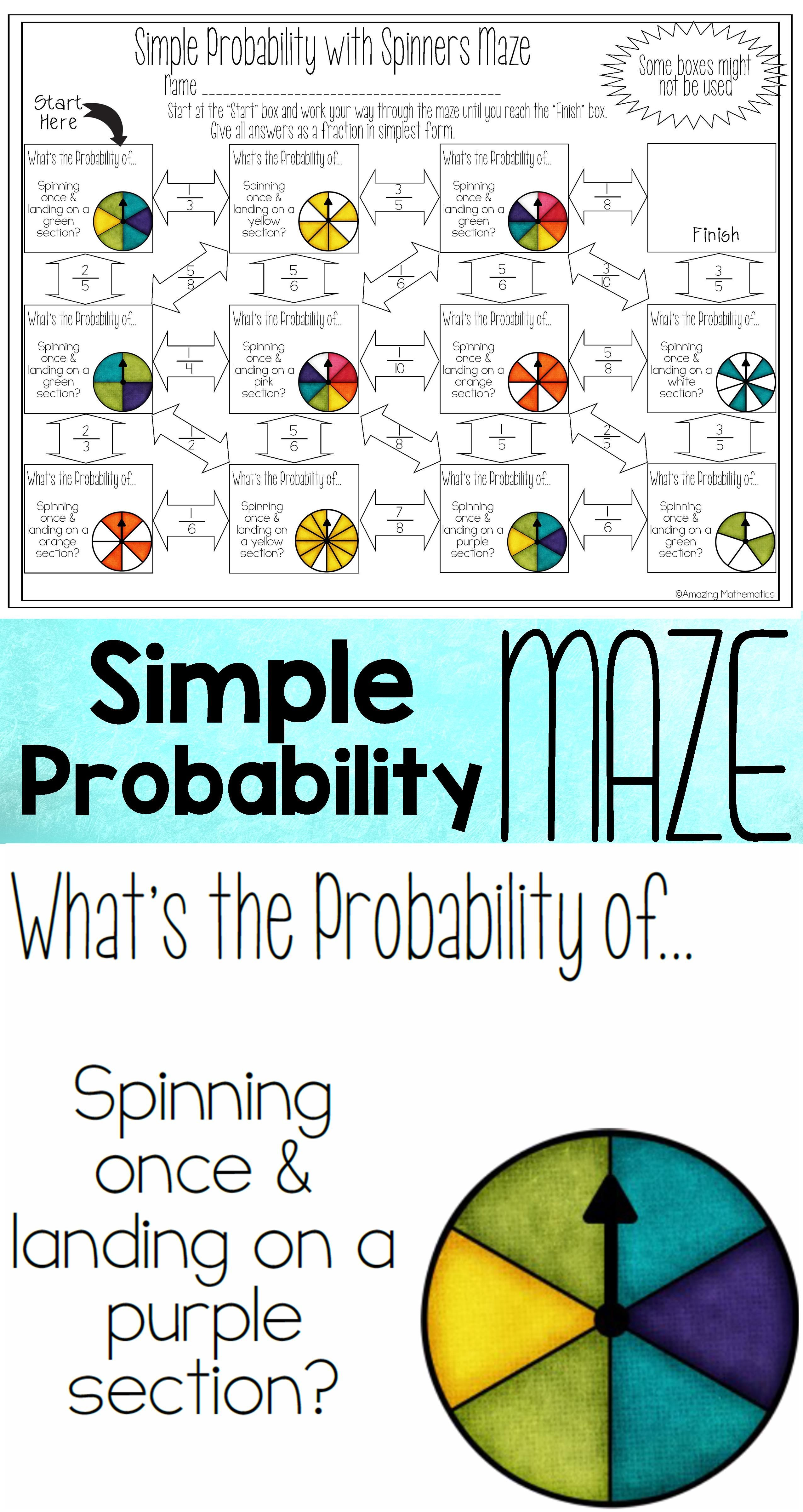 Theoretical Probability of Simple Events Maze - With Spinners Worksheet   Probability  worksheets [ 4800 x 2550 Pixel ]