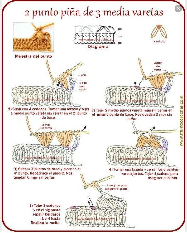 Mundocrochet punto piña | crochet | Pinterest | Crochet, Crochet ...