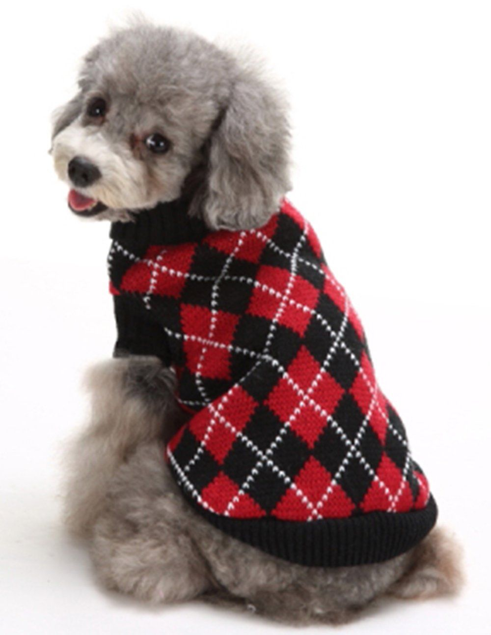 KOOLTAIL Dog Argyle Sweater Crochet Knitted for Doggie Puppy Cat