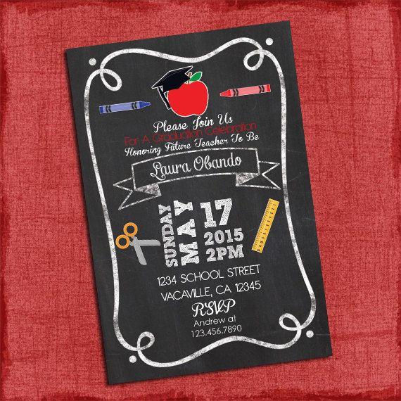 teacher graduation party invitation chalkstyle 4x6 or 5x7 i design