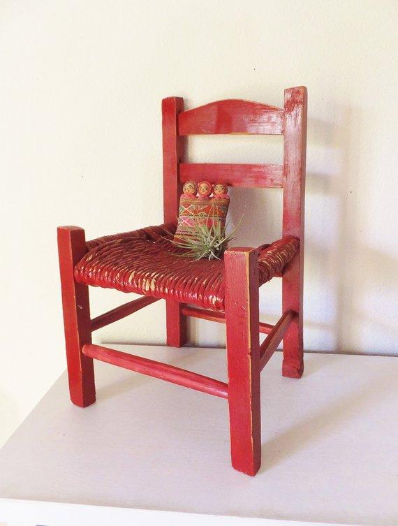 surprising Rustic Mexican Decor Part - 15: Little Red Chair Dolls Chair Small Chair Rustic Decor Mexican Decor Spanish Rustic  Decor Red Accent