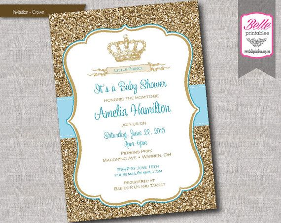 Baby Shower Invitation Prince Crown For Boy By Belleprintables