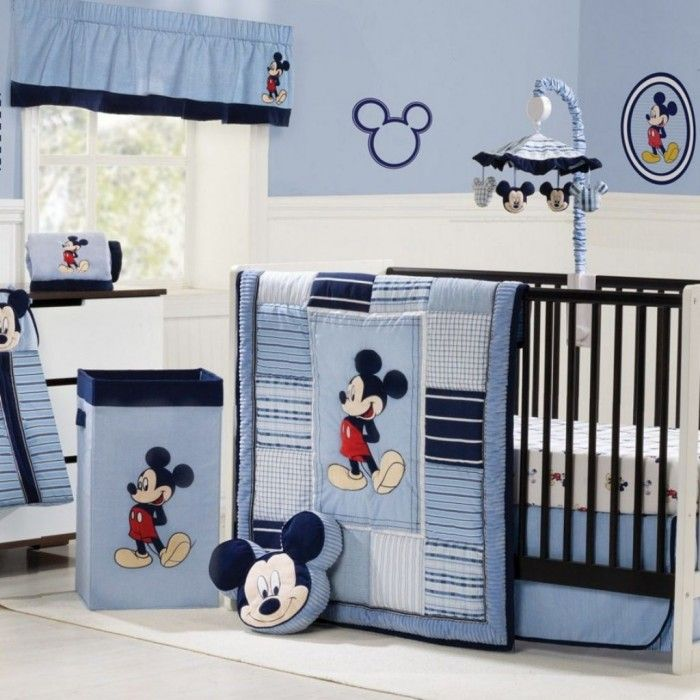 Mickey Mouse Theme Idea In Blue Color Scheme For Baby Boy Nursery Ideasjpg
