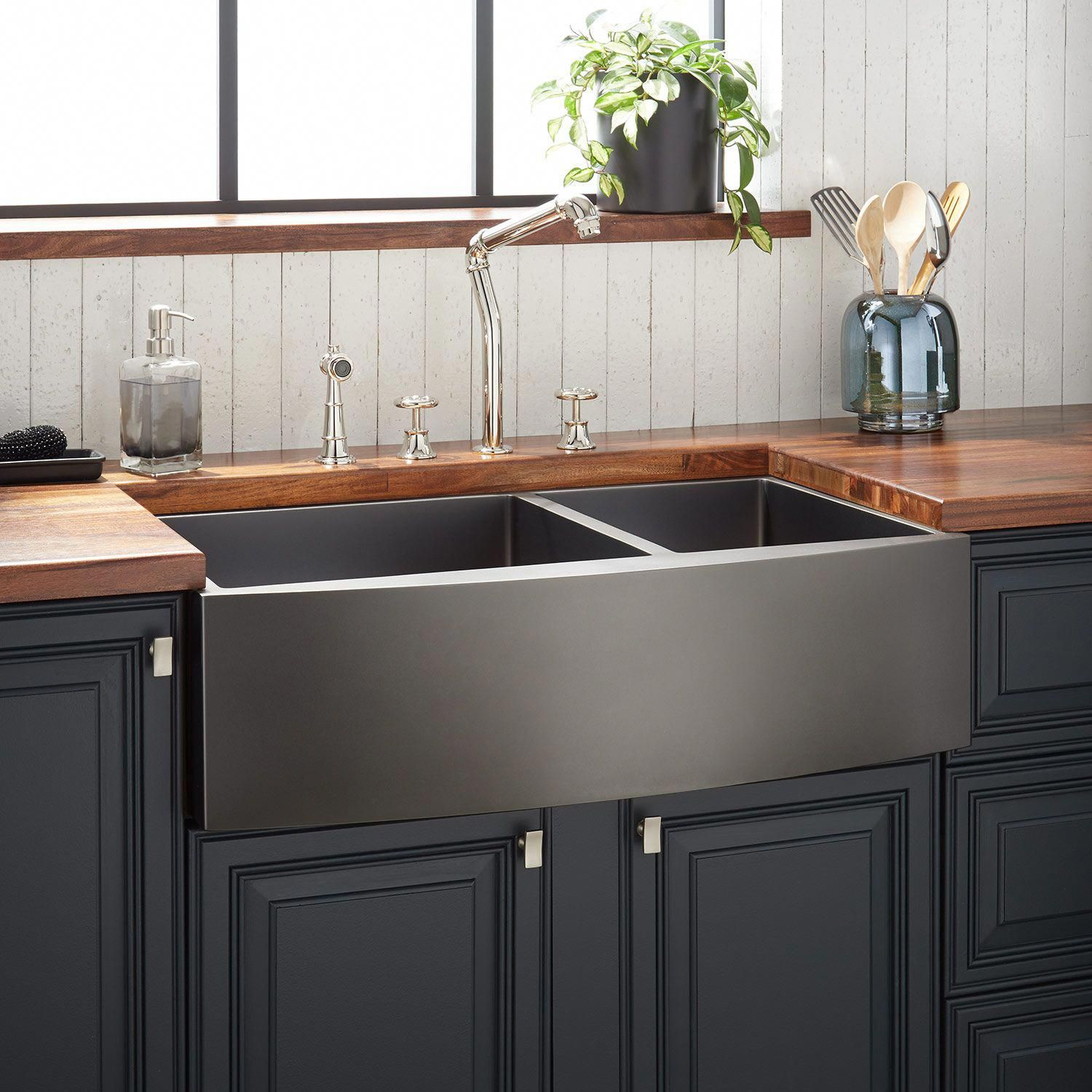 "36"" Atlas Stainless Steel Farmhouse Sink Curved Apron"
