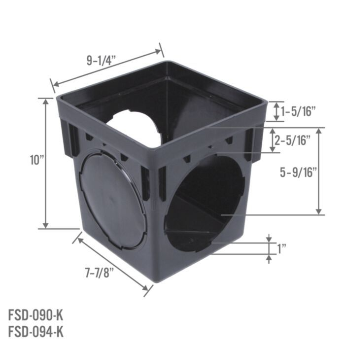 Stormdrain Fsd 094 K 9 Inch Square Black Catch Basin Drain Box Kit With Grate And Debris Trap Filter In 2020 Catch Basin Drain Backyard Drainage Sump Pump Drainage