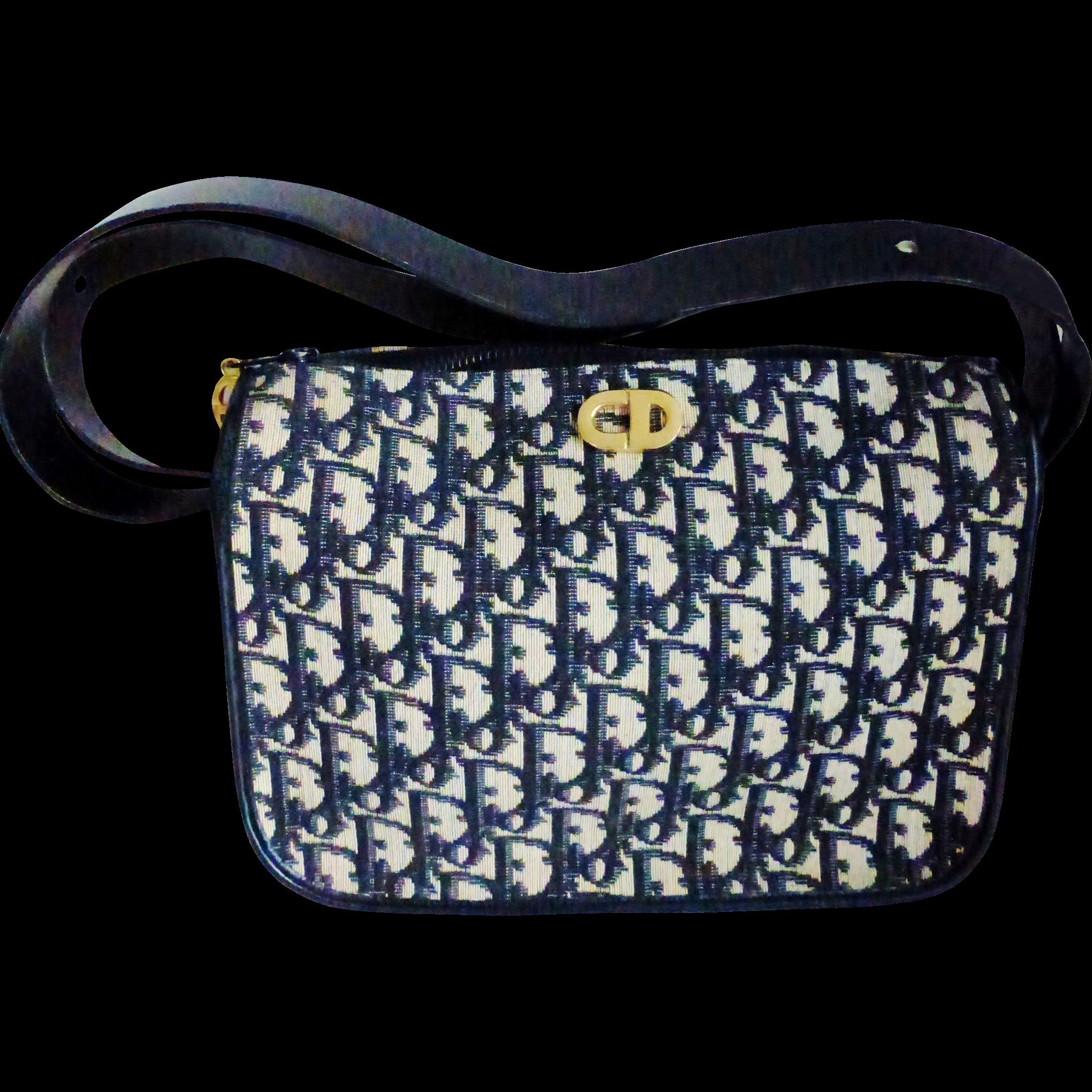 Vintage Dior Blue Trotter Top Zip Convertible Bag Rubylane Vintagebeginshere