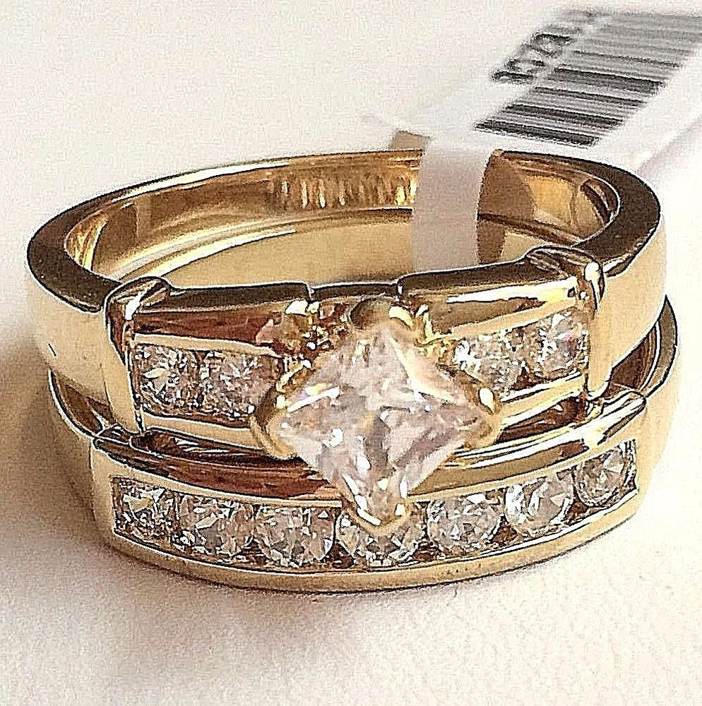 Gold Plated Art Deco Wedding Ring Set Bezel Cubic Zirconia