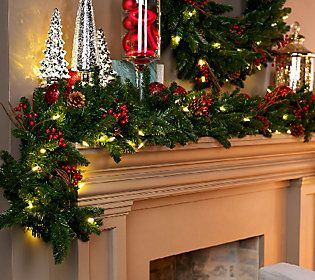 Bethlehem Lights 9 Berry And Pine Oversized Garland Qvc Com Decorating With Christmas Lights Christmas Mantle Decor Christmas Mantle
