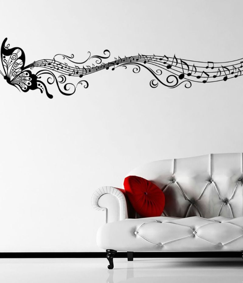 Ebay musical butterfly music notes wall sticker decal for Butterfly wall mural stickers