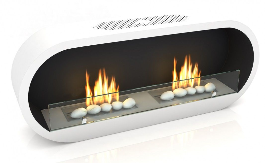 Marlow White Bioethanol Fireplace on white cut out